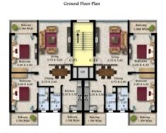 2Bhk 102.71sqmt Ground floor plan