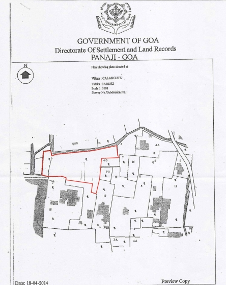 Plot 3500sqmt for Sale in Calangute, North-Goa (12.25Cr)