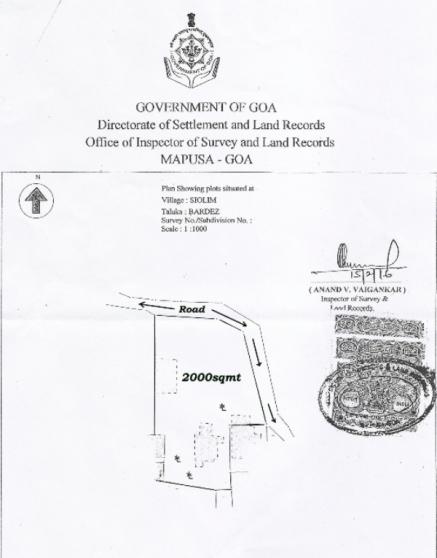 2000sqmt. Plot for Sale in Siolim, North-Goa.(3Cr)